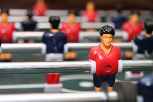 Foosball table and players