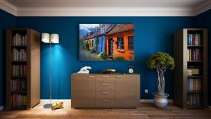 Colourful, blue room