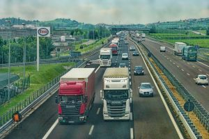 HGV vehicles on busy motorway