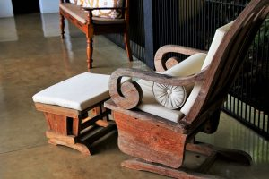 Antique rocking chair and foot stool