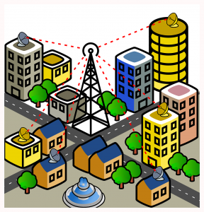 Telecomms in a city illustration